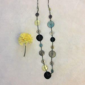Italian Thin Stone Long Pendant Necklace